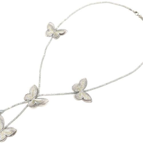Sautoir-Collier-Y-Mini-Perles-Brillantes-avec-Papillons-Gris-Broderie-et-Organza