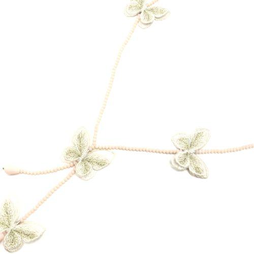 Sautoir-Collier-Y-Mini-Perles-Brillantes-avec-Papillons-Ecru-Broderie-et-Organza