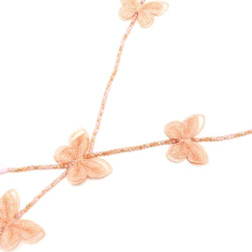 Sautoir-Collier-Y-Mini-Perles-Brillantes-avec-Papillons-Rose-Saumon-Broderie-et-Organza