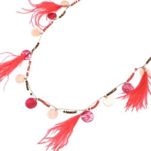 Sautoir-Collier-avec-Charms-Cercles-Nacre-Mini-Perles-et-Plumes-Corail