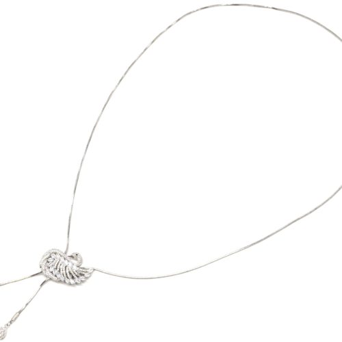 Sautoir-Collier-Pendentif-Y-Cygne-Pierres-Strass-Zirconium-et-Metal-Argente