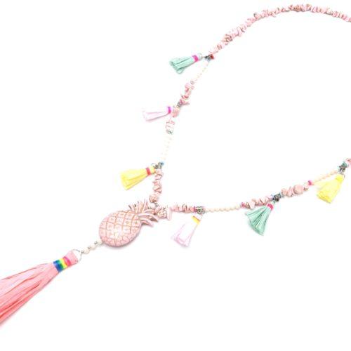 Sautoir-Collier-Perles-Pierres-Effet-Marbre-avec-Ananas-Rose-et-Pompons-Papier-Soie