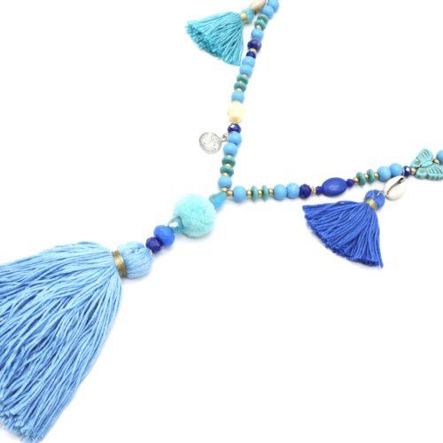 Sautoir-Collier-Perles-Bois-Pierres-Turquoise-avec-Pompons-Boule-et-Fils-Bleu
