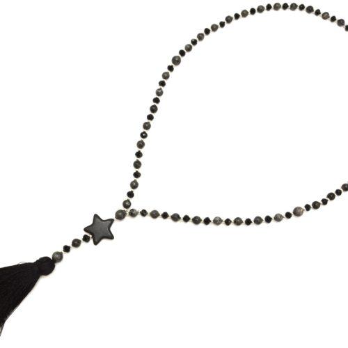 Sautoir-Collier-Perles-Brillantes-avec-Etoile-Pierre-Effet-Marbre-et-Pompon-Fils-Noir