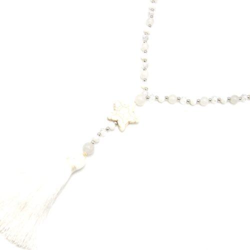 Sautoir-Collier-Perles-Brillantes-avec-Etoile-Pierre-Effet-Marbre-et-Pompon-Fils-Blanc