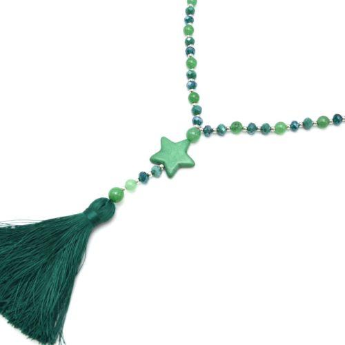 Sautoir-Collier-Perles-Brillantes-avec-Etoile-Pierre-Effet-Marbre-et-Pompon-Fils-Vert-Emeraude
