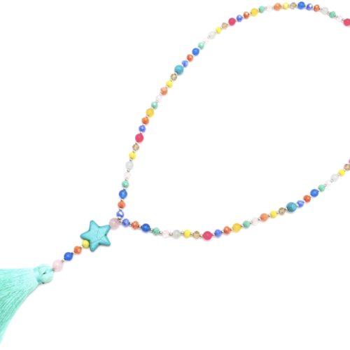 Sautoir-Collier-Perles-Brillantes-Multicolore-avec-Etoile-Pierre-Effet-Marbre-et-Pompon-Fils-Bleu-Vert