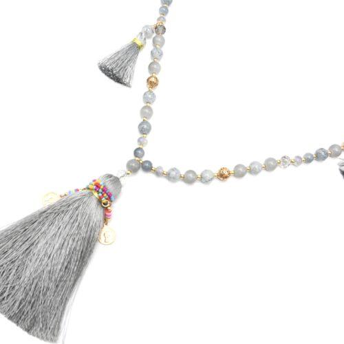 Sautoir-Collier-Perles-Verre-avec-Pompons-Fils-Gris-et-Perles-Rocaille-Multicolore