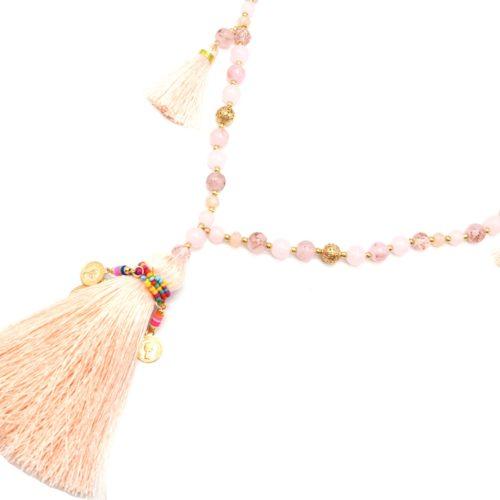 Sautoir-Collier-Perles-Verre-avec-Pompons-Fils-Rose-Saumon-et-Perles-Rocaille-Multicolore
