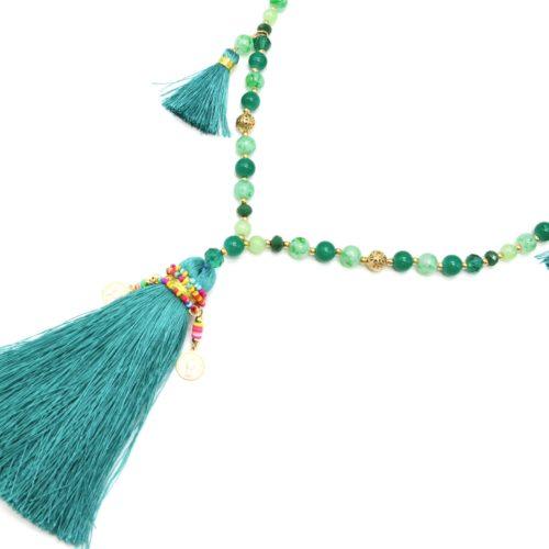 Sautoir-Collier-Perles-Verre-avec-Pompons-Fils-Vert-Emeraude-et-Perles-Rocaille-Multicolore