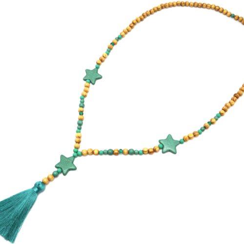 Sautoir-Collier-Perles-Bois-et-Effet-Marbre-avec-Triple-Etoiles-Pierre-et-Pompon-Vert