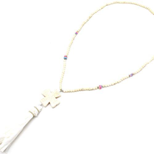 Sautoir-Collier-Perles-Pierres-Effet-Marbre-avec-Croix-Ecru-et-Pompon-Papier-Soie
