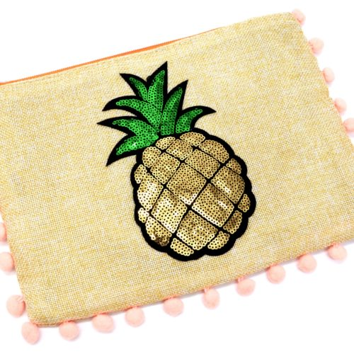 Pochette-Sac-Moyen-Tissu-Beige-avec-Motif-Ananas-Sequins-et-Pompons-Peche