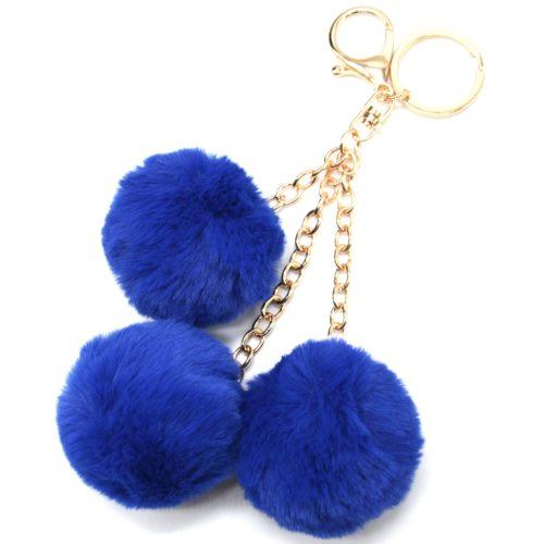 Porte-Cles-Bijou-de-Sac-Triple-Pompons-Fourrure-Bleu-Marine-et-Chaines-Metal-Dore