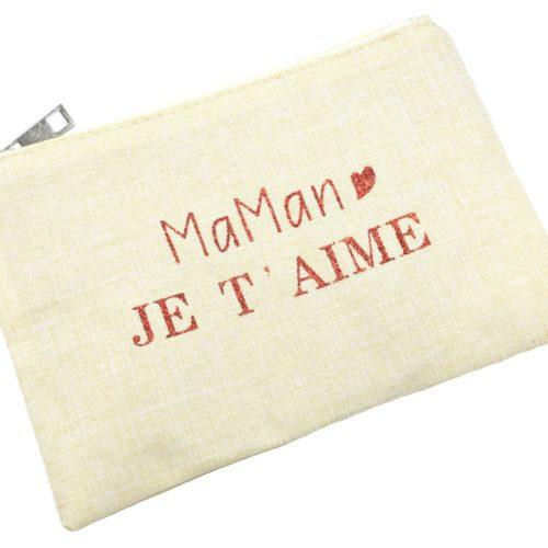 Trousse-Pochette-Toile-avec-Message-Maman-Je-T-Aime-Rouge-Paillettes
