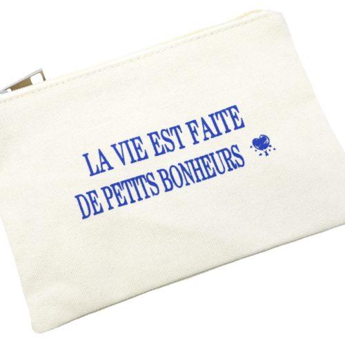 Trousse-Pochette-Toile-avec-Creme-Message-La-Vie-Est-Faite-De-Petits-Bonheurs-Bleu