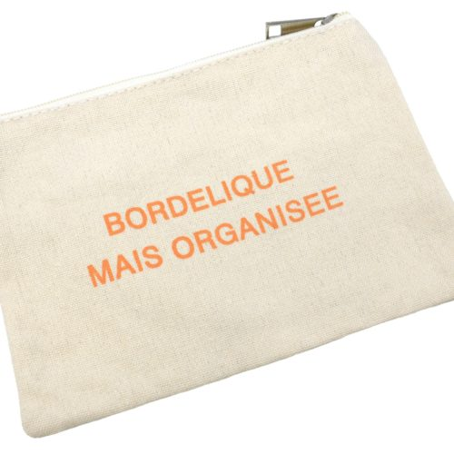Trousse-Maquillage-Pochette-Tissu-Creme-Message-Bordelique-Mais-Organisee-Orange
