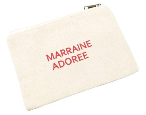 Trousse-Pochette-Toile-Avec-Message-Marraine-Adoree-Rouge