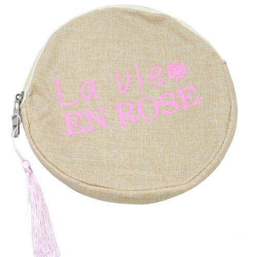 Trousse-Pochette-Ronde-Toile-avec-Message-La-Vie-En-Rose-et-Pompon-Rose