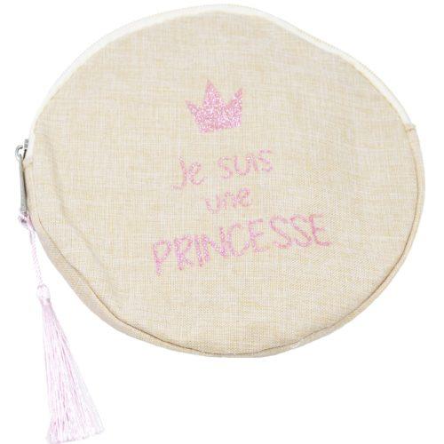 Trousse-Maquillage-Pochette-Ronde-Tissu-Beige-Message-Je-Suis-Une-Princesse-et-Pompon-Rose
