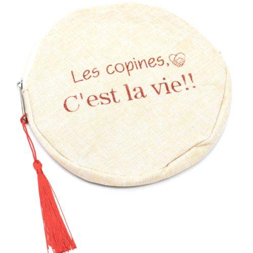 Trousse-Pochette-Ronde-Toile-Avec-Message-Les-Copines-Cest-La-Vie-et-Pompon-Rouge