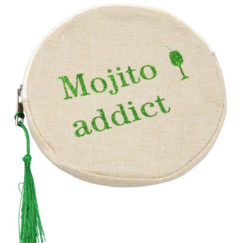 Trousse-Maquillage-Pochette-Ronde-Tissu-Beige-Message-Mojito-Addict-et-Pompon-Vert