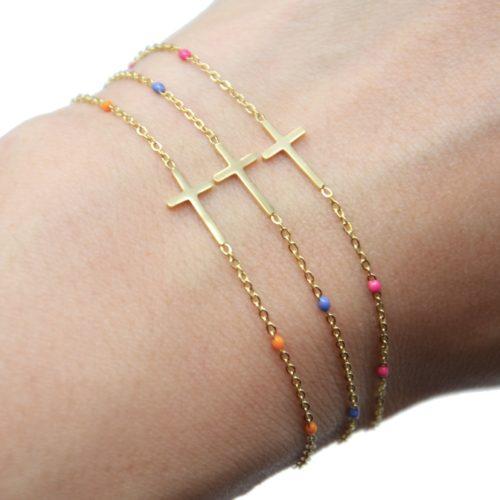 Bracelet-Fine-Chaine-Mini-Perles-Email-Couleur-avec-Croix-Acier-Dore