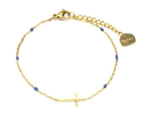 Bracelet-Fine-Chaine-Mini-Perles-Email-Bleu-Fonce-avec-Croix-Acier-Dore