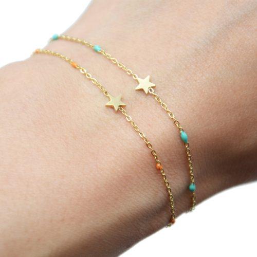 Bracelet-Fine-Chaine-Mini-Perles-Email-Couleur-avec-Etoile-Acier-Dore