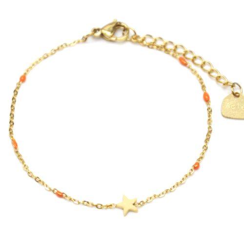 Bracelet-Fine-Chaine-Mini-Perles-Email-Orange-avec-Etoile-Acier-Dore