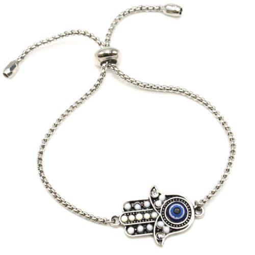 Bracelet-Chaine-Ajustable-avec-Main-Fatma-Perles-Blanches-et-Pierre-Oeil-Metal-Argente