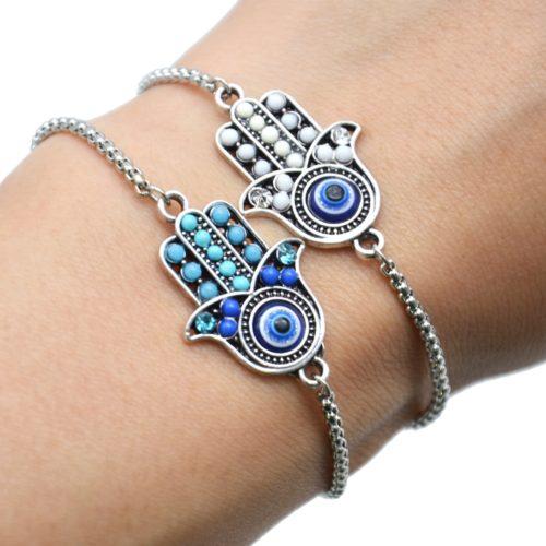 Bracelet-Chaine-Ajustable-avec-Main-Fatma-Perles-et-Pierre-Oeil-Metal-Argente