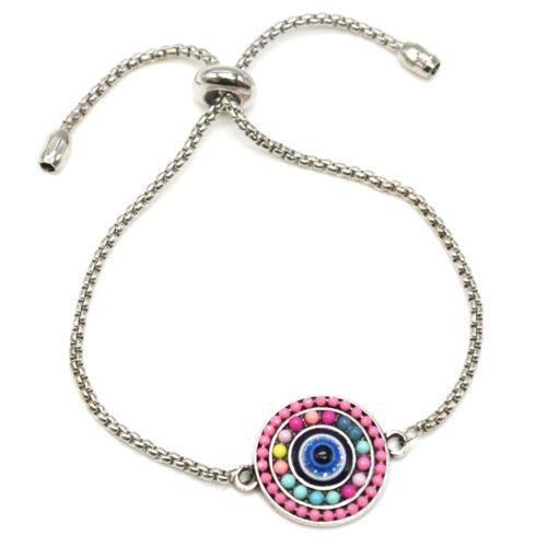 Bracelet-Chaine-Ajustable-avec-Cercle-Perles-Multicolore-et-Pierre-Oeil-Metal-Argente