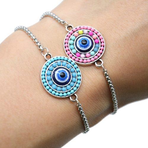 Bracelet-Chaine-Ajustable-avec-Cercle-Perles-et-Pierre-Oeil-Metal-Argente