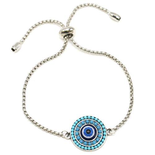 Bracelet-Chaine-Ajustable-avec-Cercle-Perles-Bleues-et-Pierre-Oeil-Metal-Argente