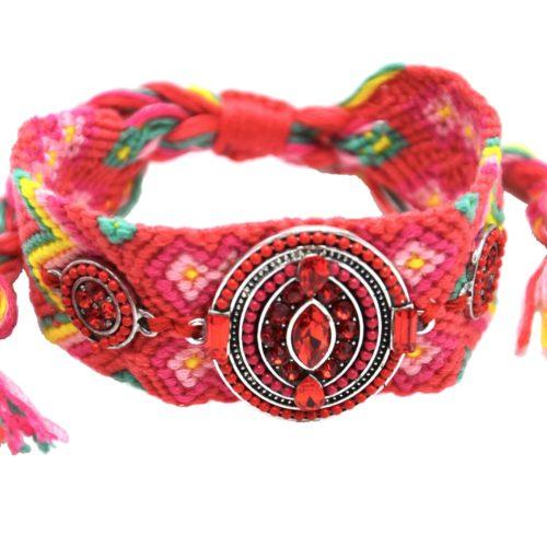 Bracelet-Manchette-Bresilien-Fils-Tresses-avec-Ovale-Pierres-Perles-Corail-Rouge