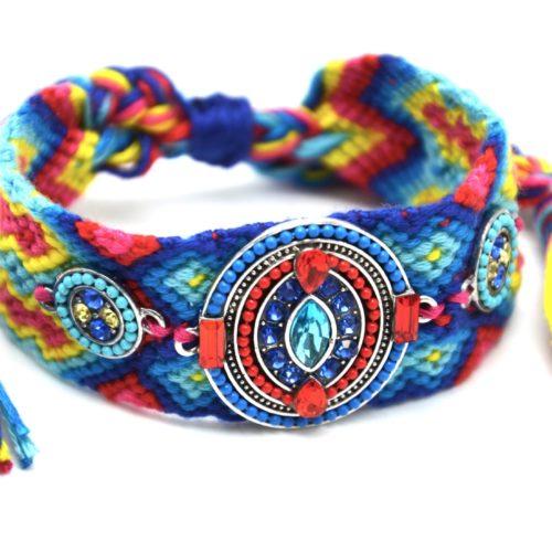 Bracelet-Manchette-Bresilien-Fils-Tresses-avec-Ovale-Pierres-Perles-Bleu-Rouge