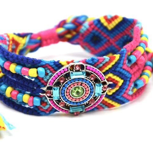 Bracelet-Manchette-Bresilien-Fils-Tresses-avec-Cercle-Pierres-Perles-Bleu-Rose