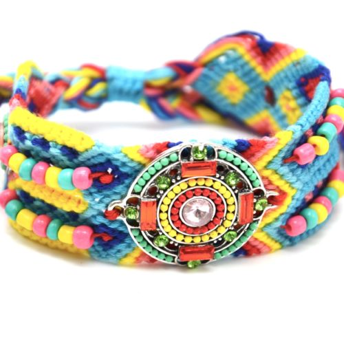 Bracelet-Manchette-Bresilien-Fils-Tresses-avec-Cercle-Pierres-Perles-Multicolore