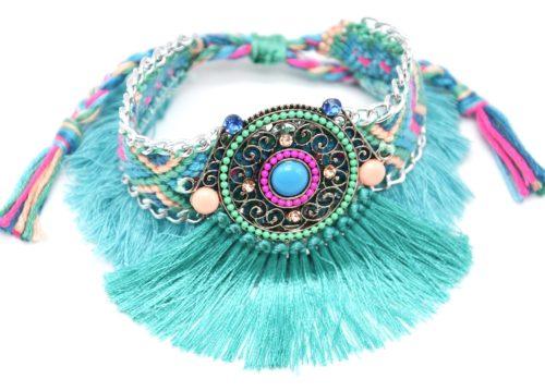 Bracelet-Manchette-Bresilien-Fils-Tresses-avec-Cercle-Pierres-Perles-et-Pompons-Bleu-Vert