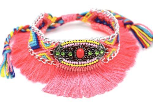 Bracelet-Manchette-Bresilien-Fils-Tresses-avec-Ovale-Pierres-Perles-et-Pompons-Corail