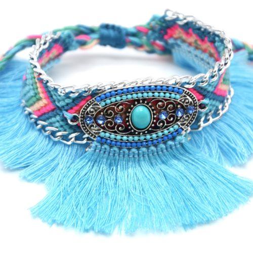 Bracelet-Manchette-Bresilien-Fils-Tresses-avec-Ovale-Pierres-Perles-et-Pompons-Bleu-Turquoise