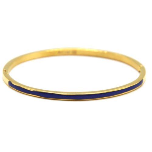 Bracelet-Jonc-Fin-Acier-Dore-avec-Bande-Email-Bleu