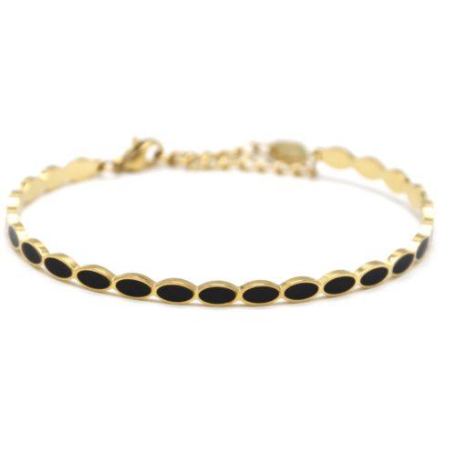 Bracelet-Jonc-Fin-Ondule-et-Chaine-Acier-Dore-avec-Ovales-Email-Noir