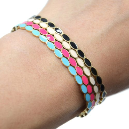 Bracelet-Jonc-Fin-Ondule-et-Chaine-Acier-Dore-avec-Ovales-Email-Couleur