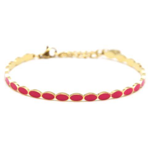 Bracelet-Jonc-Fin-Ondule-et-Chaine-Acier-Dore-avec-Ovales-Email-Rose