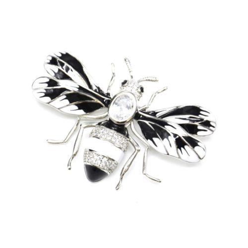 Broche-Abeille-Metal-Peint-Noir-Blanc-avec-Ailes-Rayures-et-Strass-Zirconium-Argente
