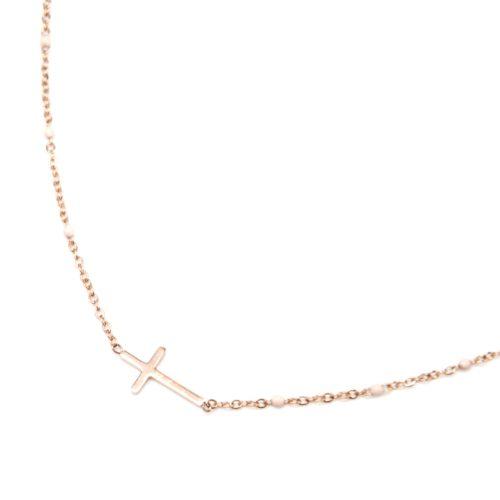 Collier-Fine-Chaine-Mini-Perles-Email-Beige-et-Croix-Acier-Or-Rose
