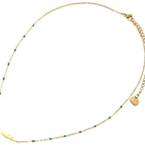 Collier-Fine-Chaine-Mini-Perles-Email-Vert-Emeraude-et-Plume-Acier-Dore