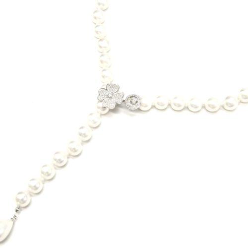 Collier-Y-Grosses-Perles-Nacre-Ecru-avec-Charm-Trefle-Strass-Zirconium-Argente